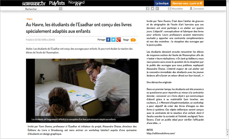 "Article about the workshop ""Hello book"" on paris-normandie.fr"