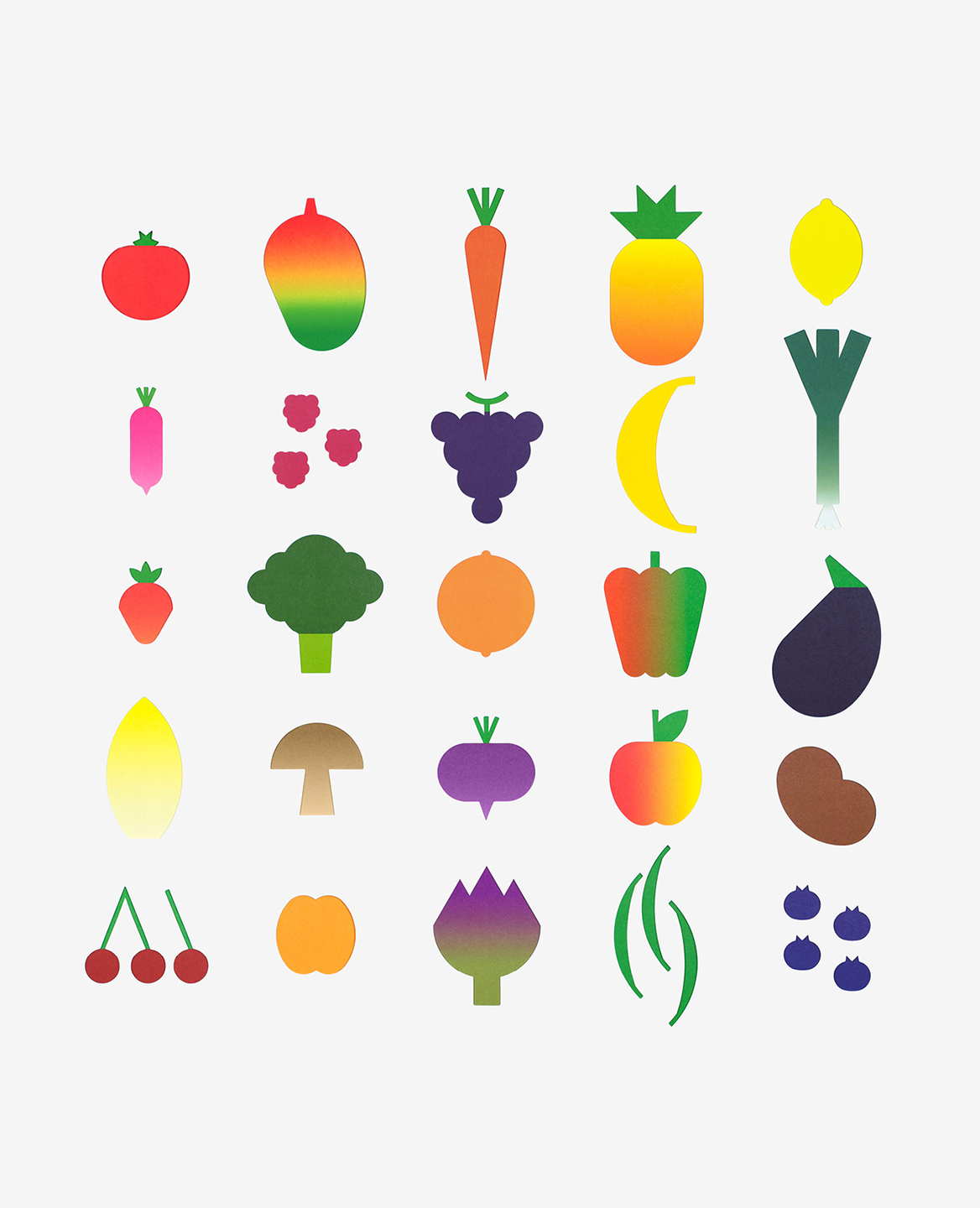 25 fruits and vegetables from the book-game Hello tomato