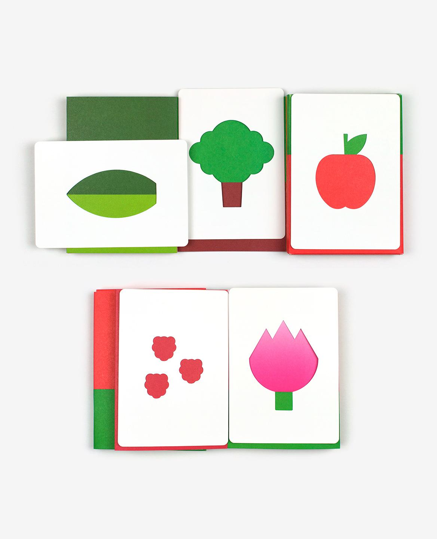 Feuille, arbre, pomme, framboises et tulipe dans le livre-jeu Hello tomato