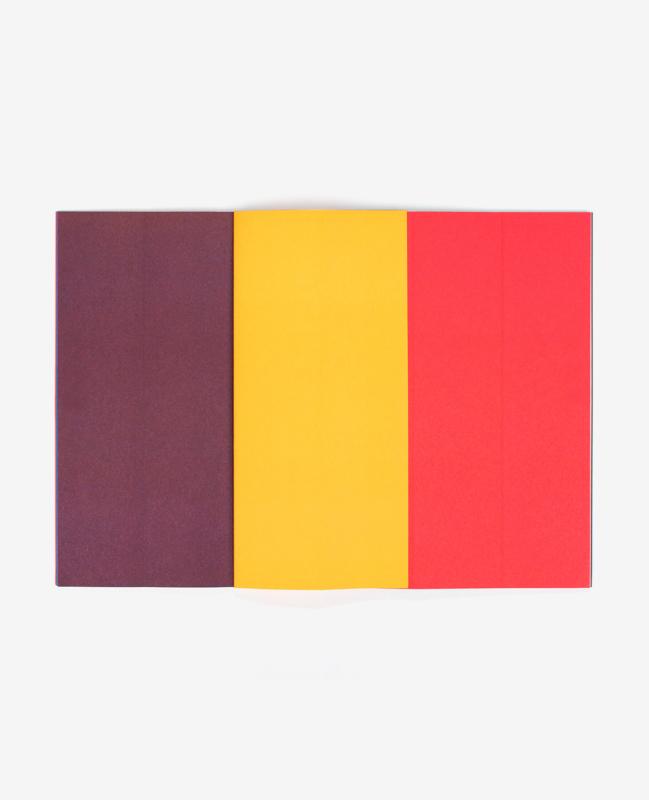 Bandes marron, jaune et rouge dans le livre Strips