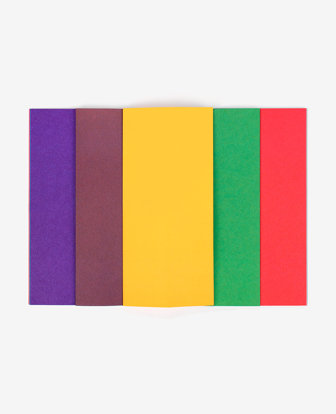Violet, brown, yellow, green and red strips from the book Strips