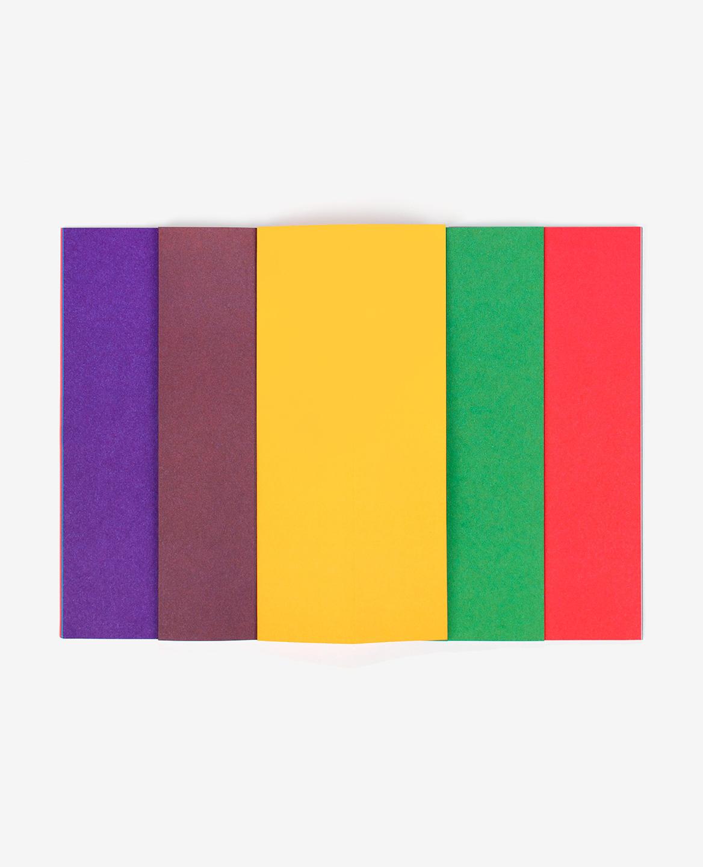 Bandes colorées violette, marron, jaune, verte et rouge du livre Strips