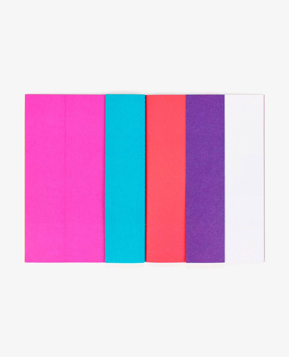 Pink, blue, red and violet strips from the book Strips