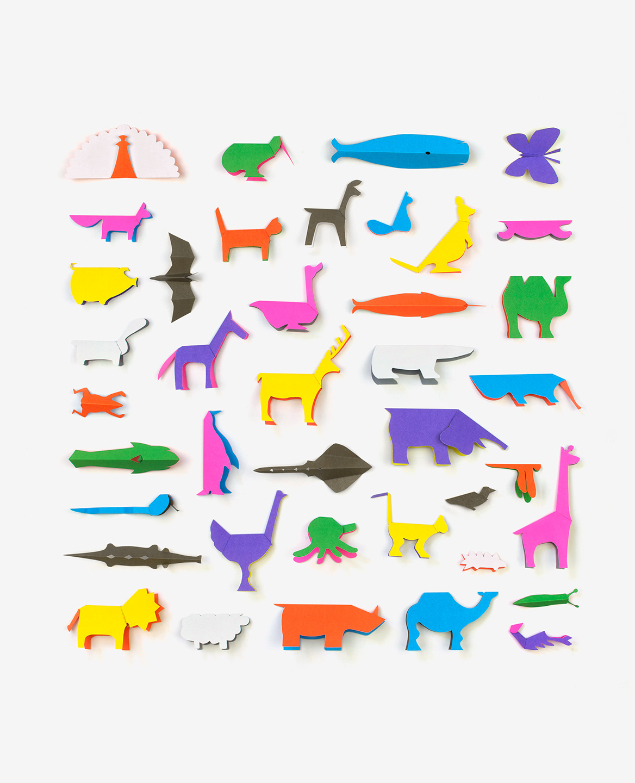 40 animaux colorés en origami extraits du livre Zoo in my hand de Inkyeong & Sunkyung Kim publié par les Éditions du livre