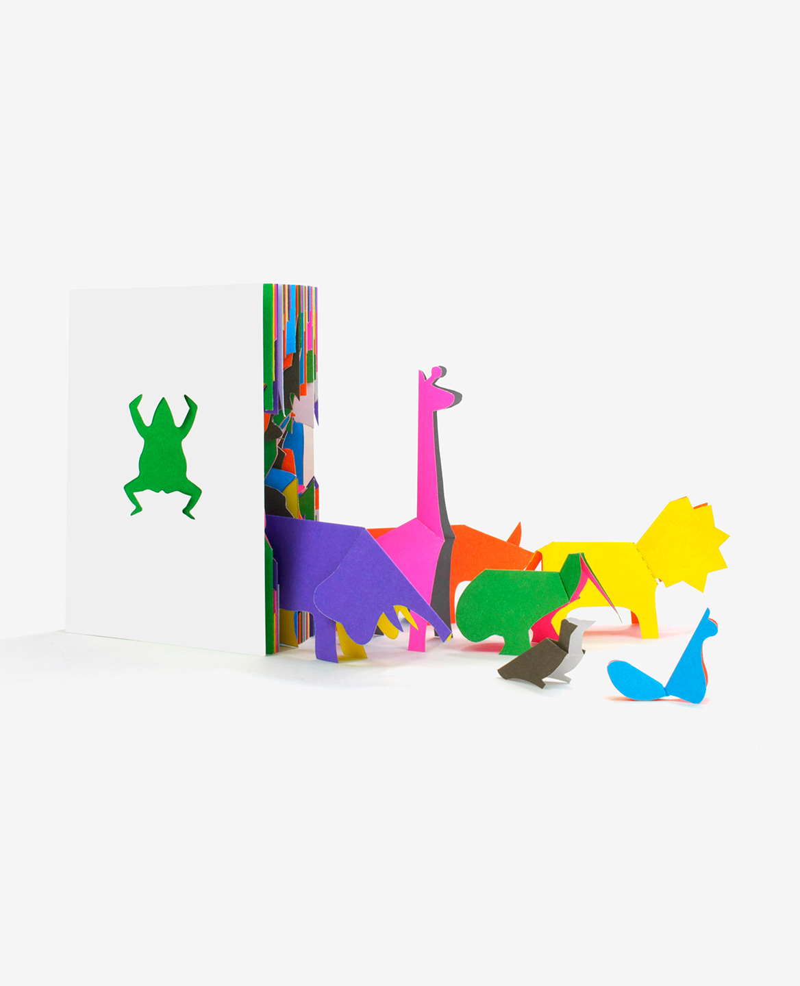 Multicolored animals coming out of the book Zoo in my hand by Inkyeong & Sunkyung Kim published by Éditions du livre
