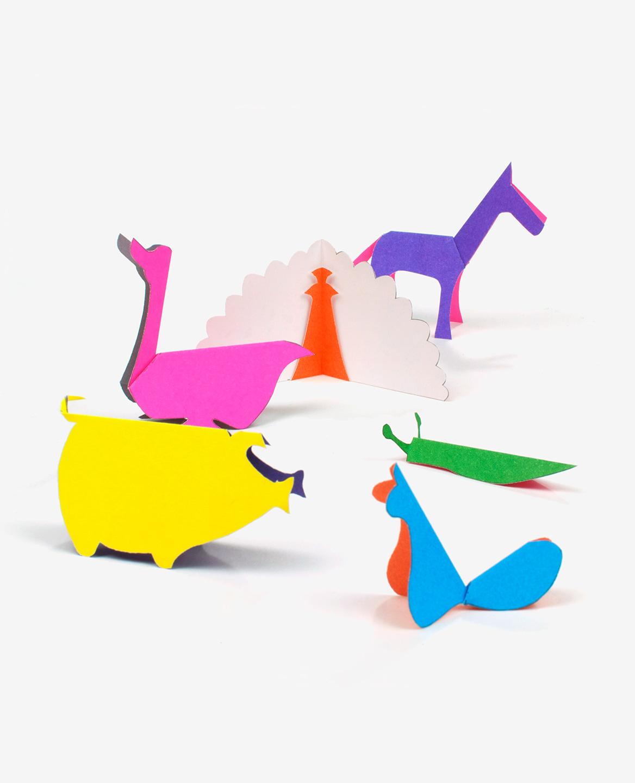Animaux multicolores extraits du livre Zoo in my hand de Inkyeong & Sunkyung Kim publié par les Éditions du livre
