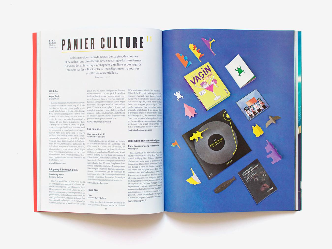 Double-page du panier culture dans Zut magazine #39