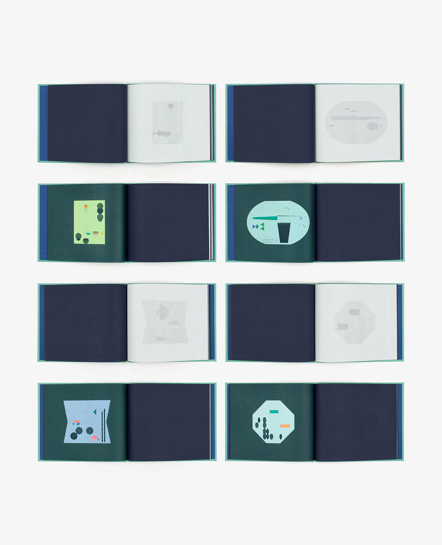 Huit doubles-pages du livre Aquarium de Fanette Mellier publié aux Éditions du livre