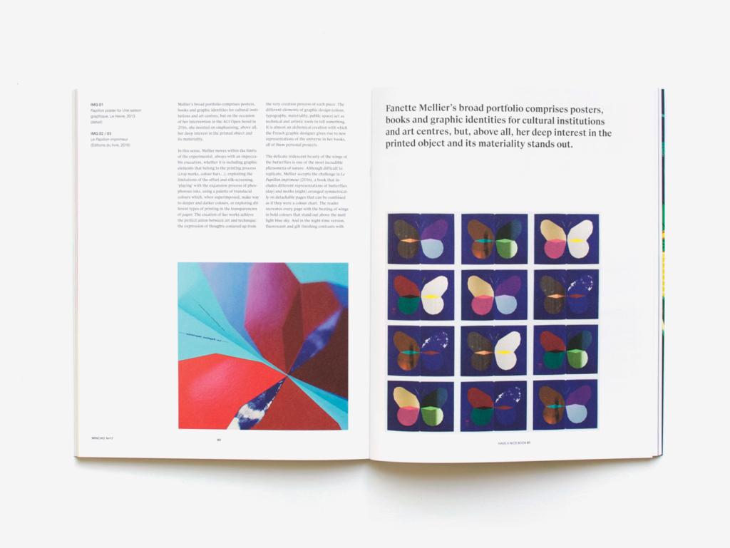 Le Papillon imprimeur de Fanette Mellier en double page du magazine Mincho