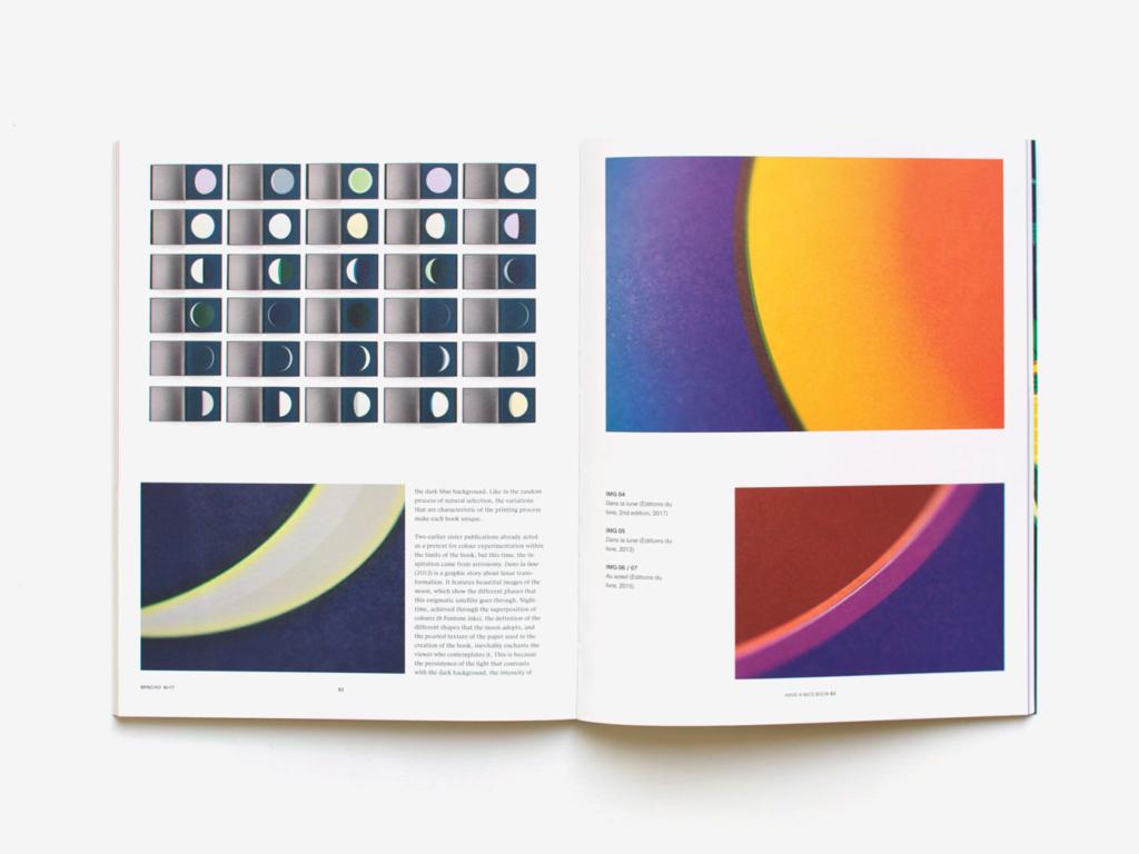 Double page du magazine Mincho présentant les livres Dans la lune et Au soleil de Fanette Mellier