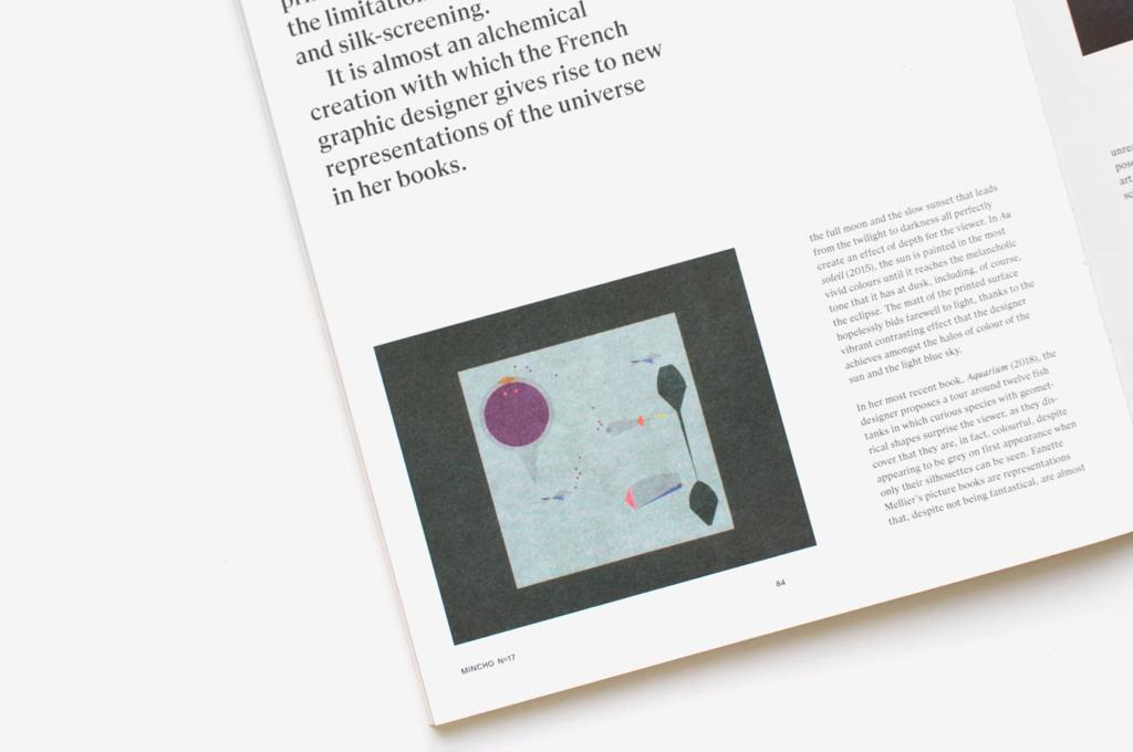 Détail d'une page du magazine Mincho présentant le livre Aquarium de Fanette Mellier