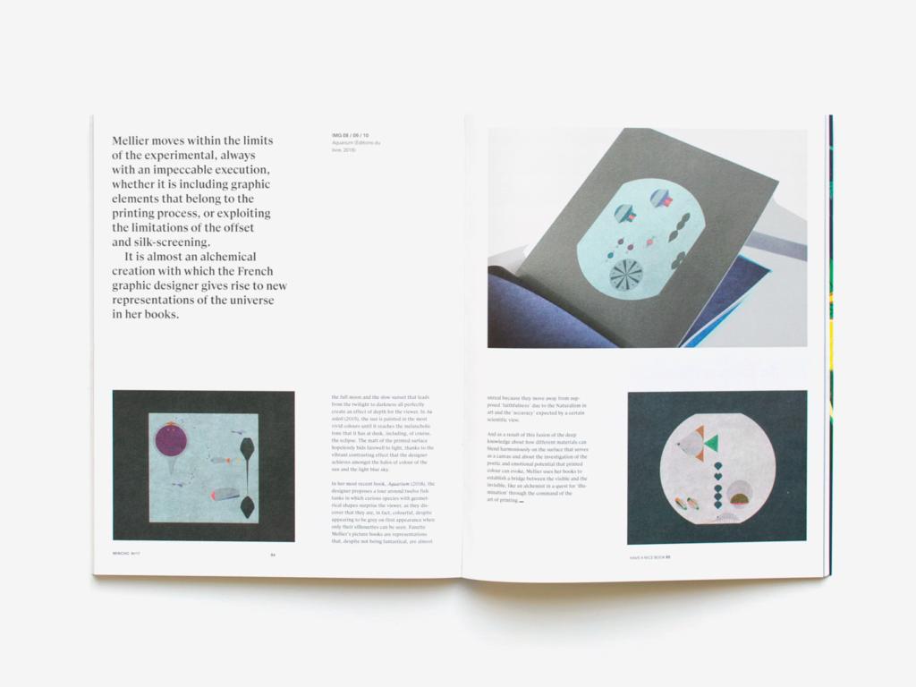 Double page du magazine Mincho présentant le livre Aquarium de Fanette Mellier