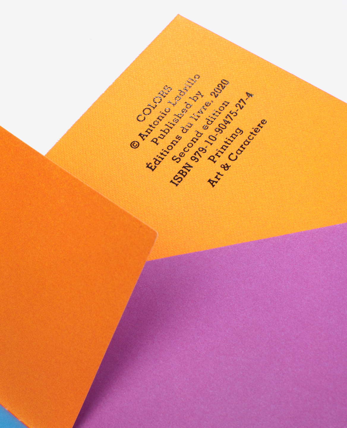 Brilliant foil colophon of the book Colors by Antonio Ladrillo published by Éditions du livre