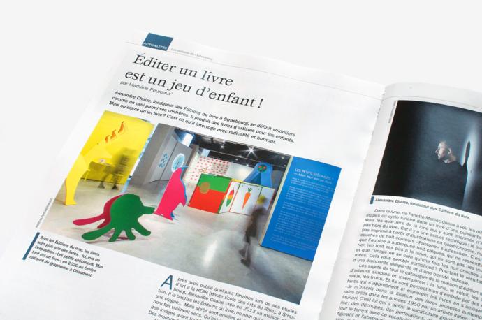 Double-page of the article on Éditions du livre in the magazine Les Saisons d'Alsace