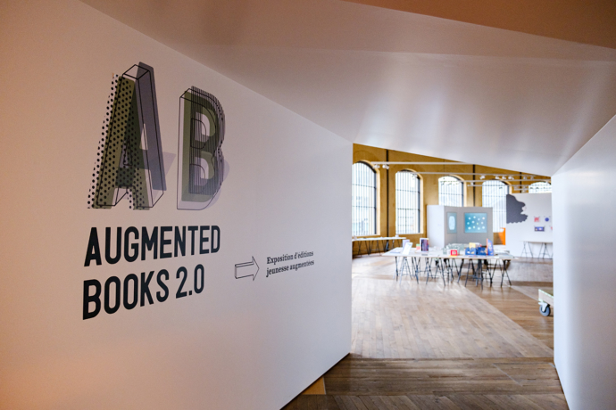View of the entrance to the AB / Augmented Books 2.0 exhibition at Rotondes in Luxembourg