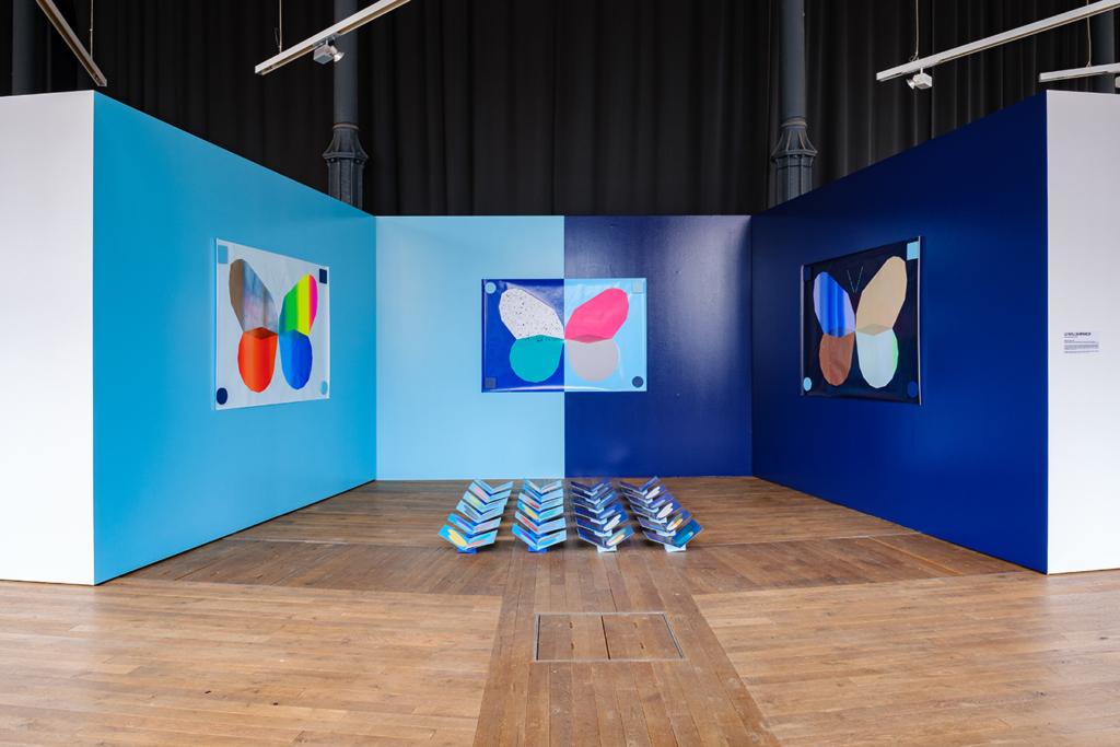 Installation Le Papillon imprimeur dans l'exposition AB / Augmented Books 2.0 aux Rotondes à Luxembourg