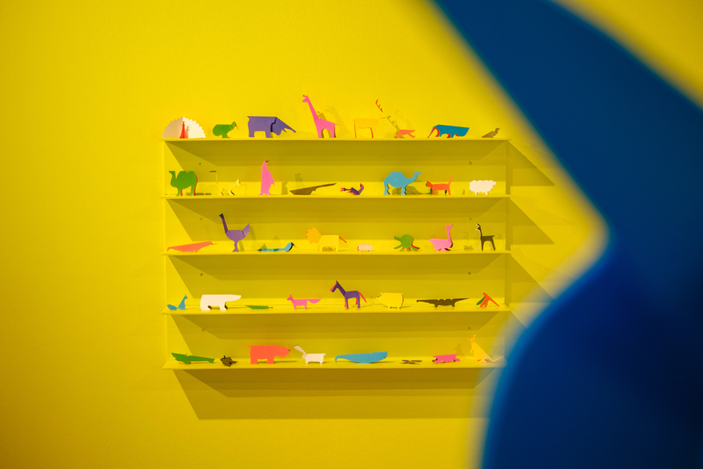 Detail of the Zoo in my hand installation in the AB / Augmented Books 2.0 exhibition at Rotondes in Luxembourg