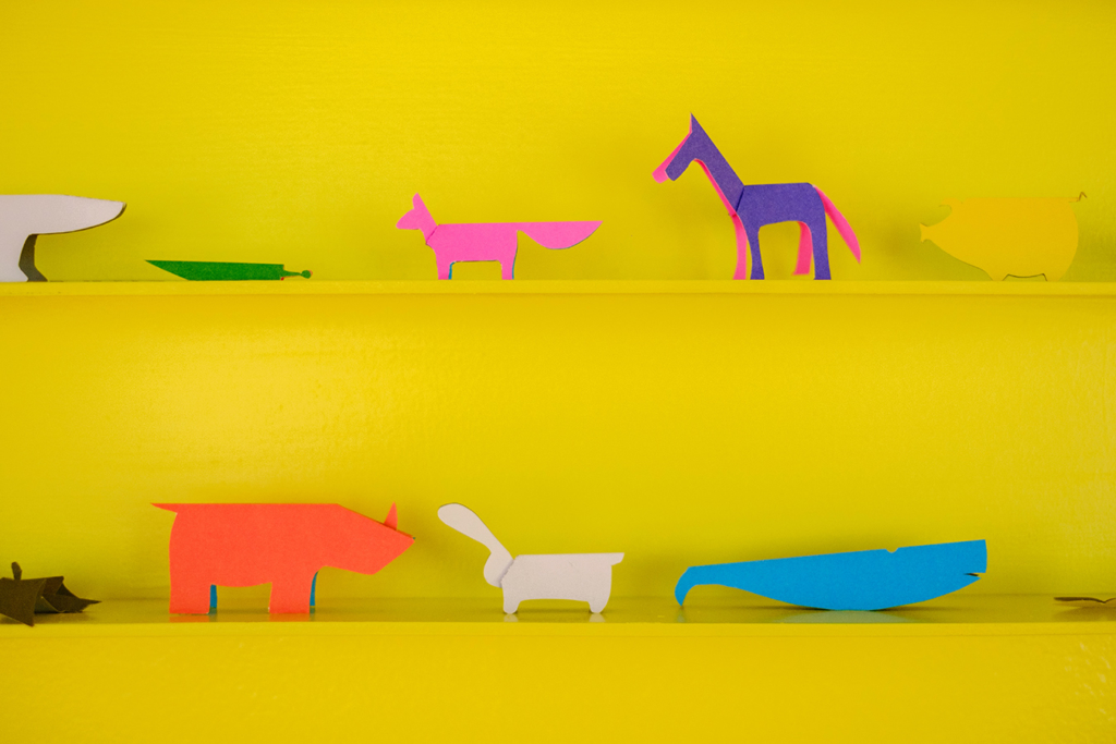 Origami animals in the exhibition AB / Augmented Books 2.0 at Rotondes in Luxembourg