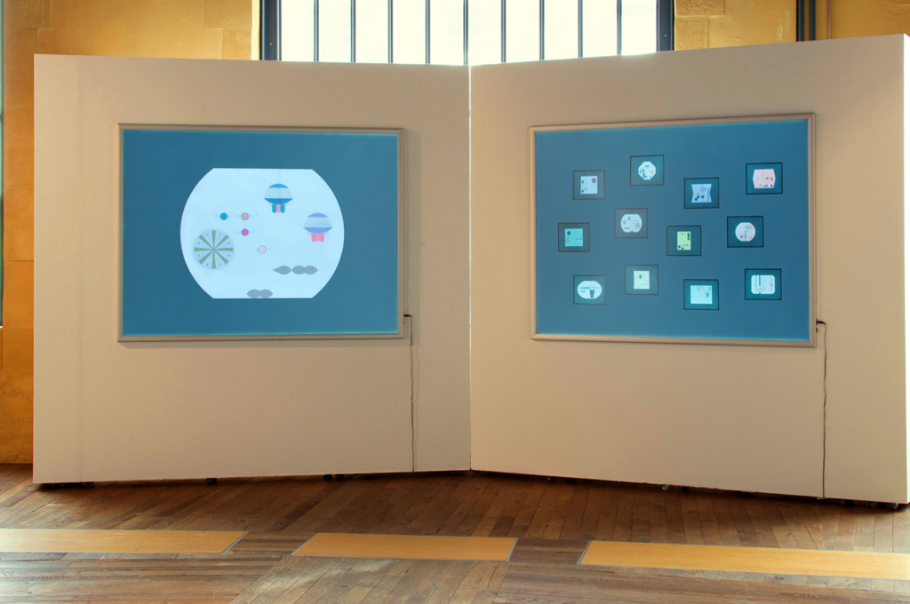 Aquarium installation in the AB / Augmented Books 2.0 exhibition at Rotondes in Luxembourg