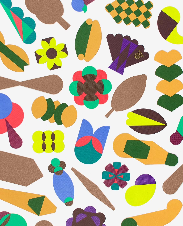 Formes découpées de fleurs et de feuilles du livre Herbier de Fanette Mellier