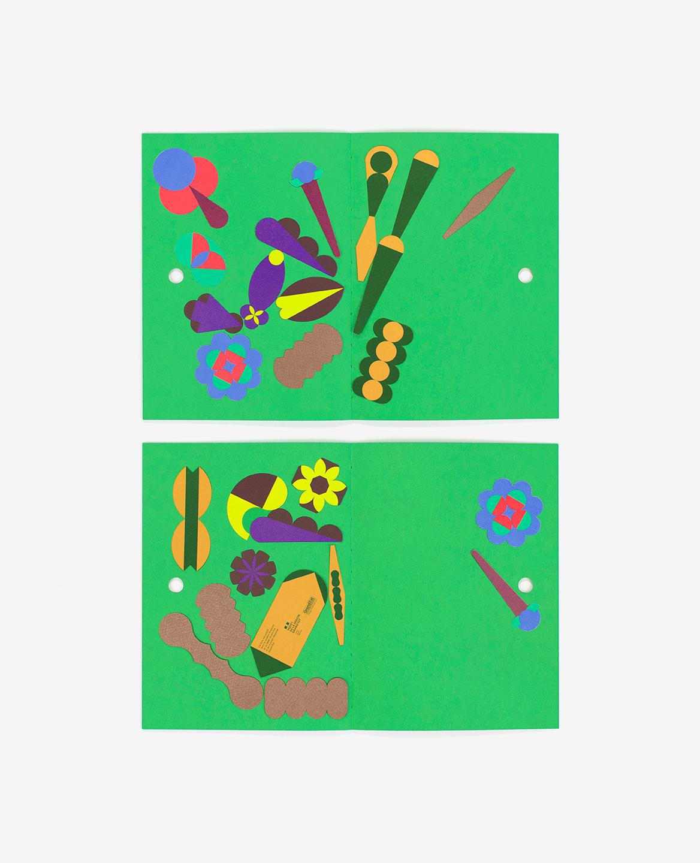 Deux pages du livre Herbier comportant des compositions graphiques.